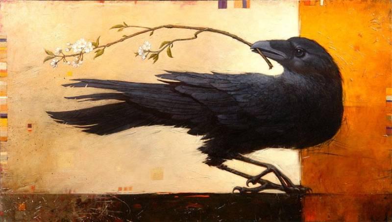 Лет, ворон открытка